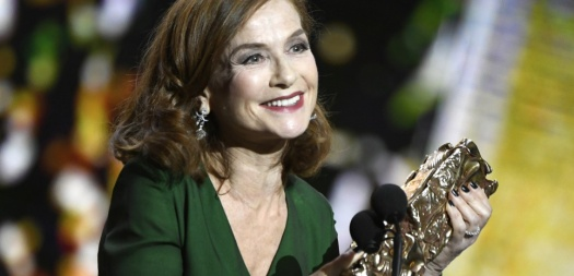 "French actress Isabelle Huppert speaks after receiving the Best Actress award for ""Elle""during the 42nd edition of the Cesar Ceremony at the Salle Pleyel in Paris on February 24, 2017.  / AFP PHOTO / bertrand GUAY"